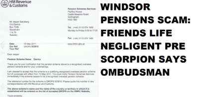 Friends Life transfers pension to a fraudulent bank account