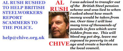 Al Rush championing the British Steelworkers who have been scammed