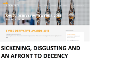 DEMAND FOR LEONTEQ'S AWARDS TO BE WITHDRAWN BY SWISS DERIVATIVES AWARDS