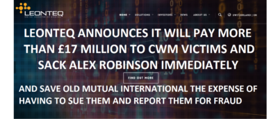 Pension Life Blog - Leonteq announces it will pay more than 17 million GBP to CWM victims and sack Alex Robinson immediately- saving OMI the expense of having to sue them - Marco Amato, CEO and CFO of Leonteq
