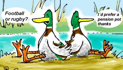 """Pension Life Blog - Celtic Wealth Management BRIBED British Steel Workers - Sitting ducks talking, left duck says """"football or rugby?"""" right duck says, """"I´d rather have a pension pot."""""""