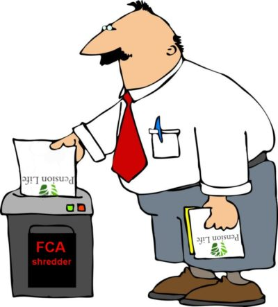 Pension Life Blog - FCA pension scam - Man shredding all the paperwork from pension life