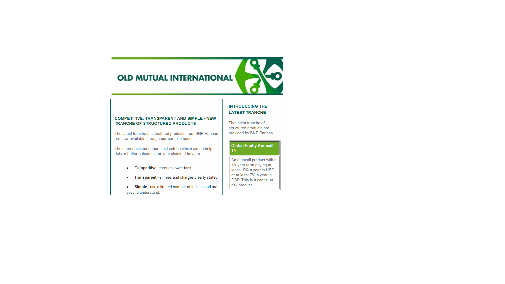 YET ANOTHER STRUCTURED NOTE SCAM BY OLD MUTUAL INTERNATIONAL