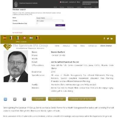 Dennis Radford, former CWM scammer, now provides investment advice illegally with Spectrum IFA Group - flogging insurance bonds illegally and lying about his Chartered Institute of Insurance membership.