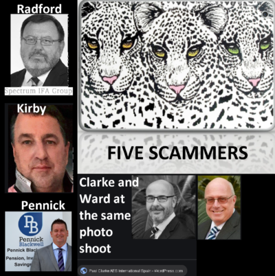 Serial scammers Stephen Ward, Paul Clarke, Dennis Radford, Phill Pennick and Darren Kirby - the public must be vigilant because most of them are still out there, scamming away