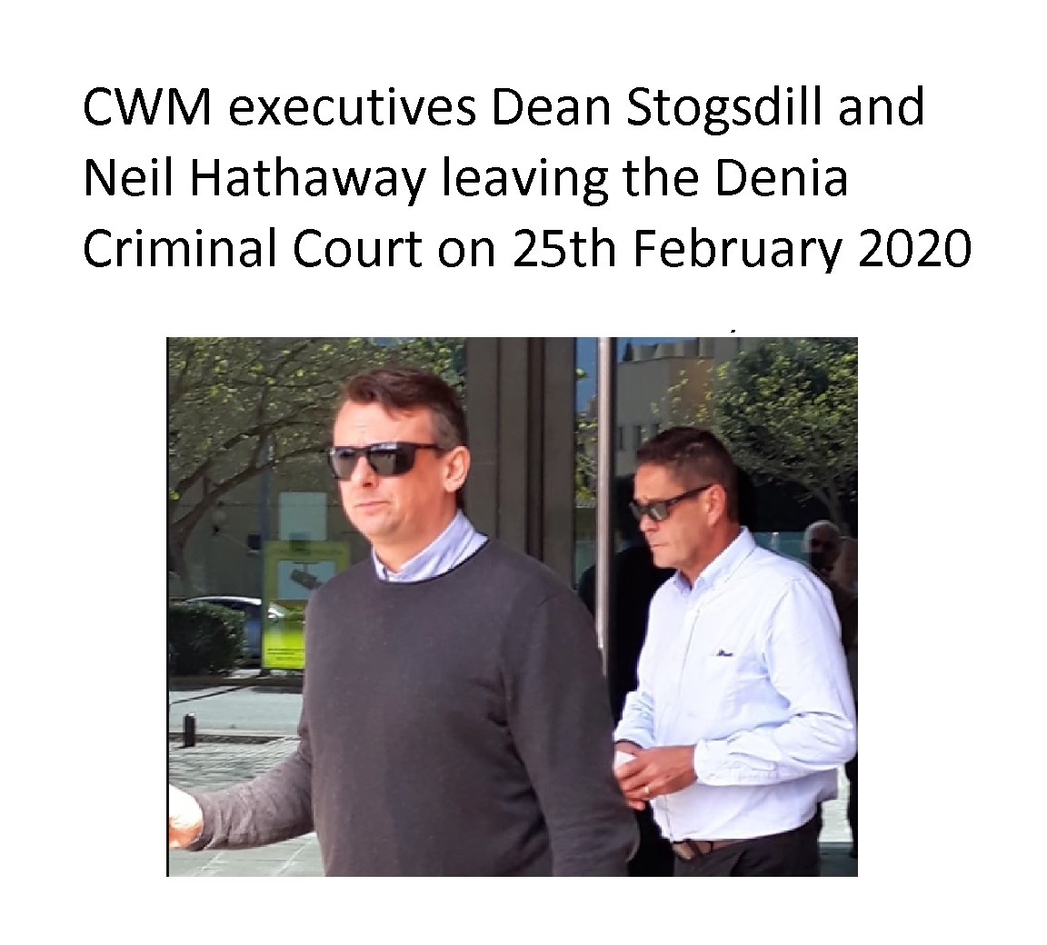 Dean Stogsdill and Neil Hathaway of CWM leaving the Denia Criminal Court on 25th February 2020 after being cross examined on charges of fraud, disloyal administration and falsification of commercial documents.