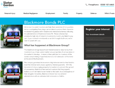 Slater and Gordon Lawyers tried to stop Pension Life from warning the public about Blackmore Group in July 2017 and is now touting for business for claims in respect of the failed Blackmore Bond.