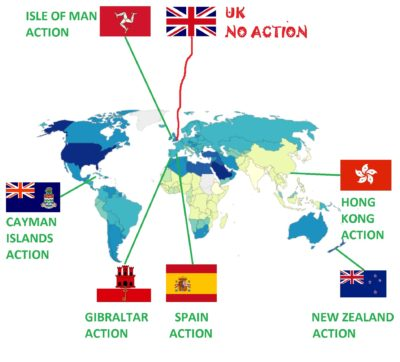 British expat financial services jurisdictions - Cayman Islands, IoM, Gibraltar, Spain, New Zealand and Hong Kong are all taking civil or criminal against scammers. Britain is taking no action to protect its own people.