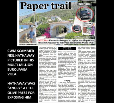 CWM scammer Neil Hathaway caught stealing copies of The Oliver Press which exposed him as facing fraud charges.