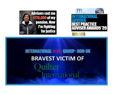 Brave pension scam Manita Khuller took on rogue QROPS trustee FNB and won. Also a Quilter International victim, and scammed by unlicensed Eric Jordan and Colin Bloodworth of Professional Portfolio International, this brave and determined woman took her case to court in Guernsey and won.