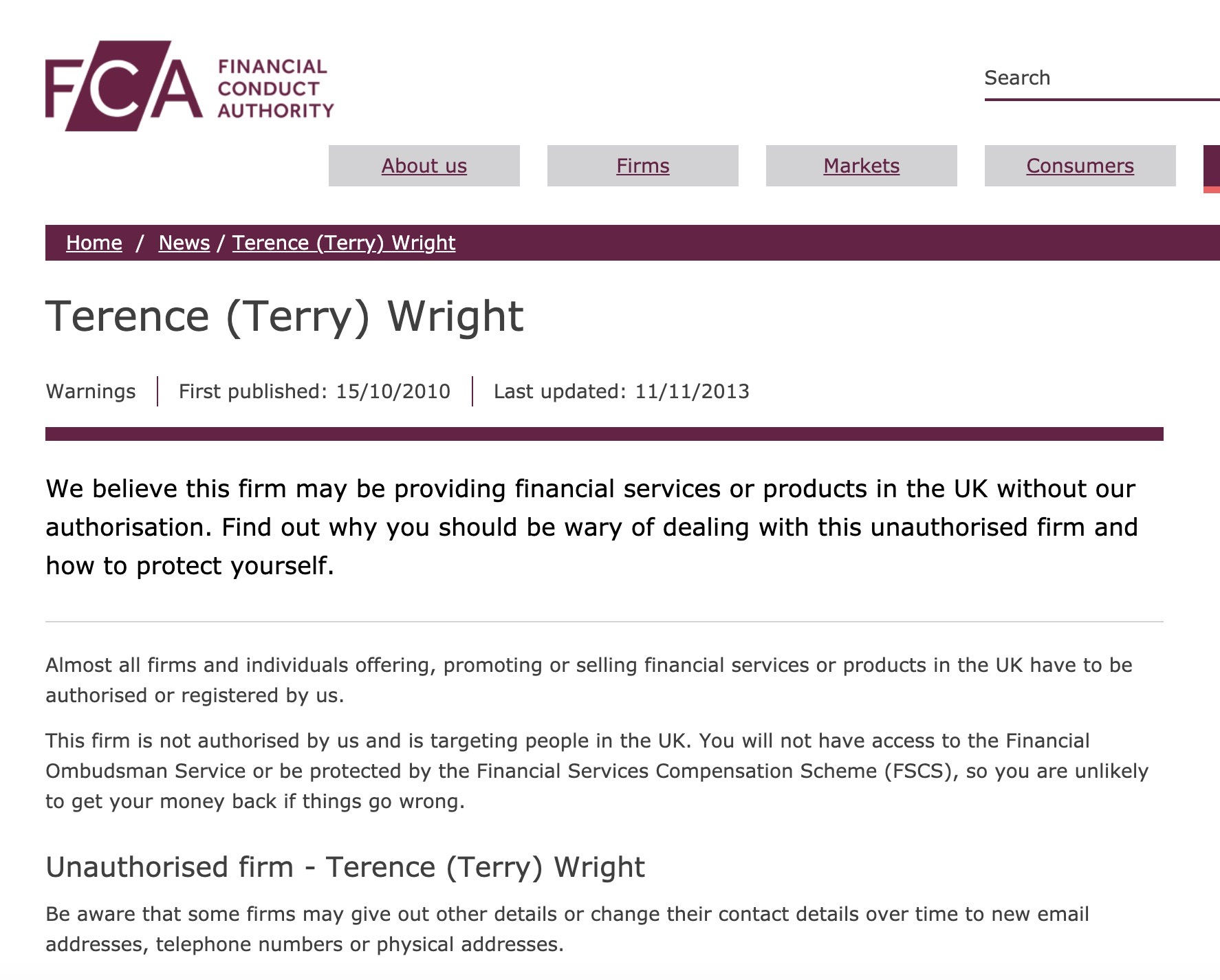 FCA warning against Terence Wright of CLP - ignored by Christine Hallett of Carey Pensions