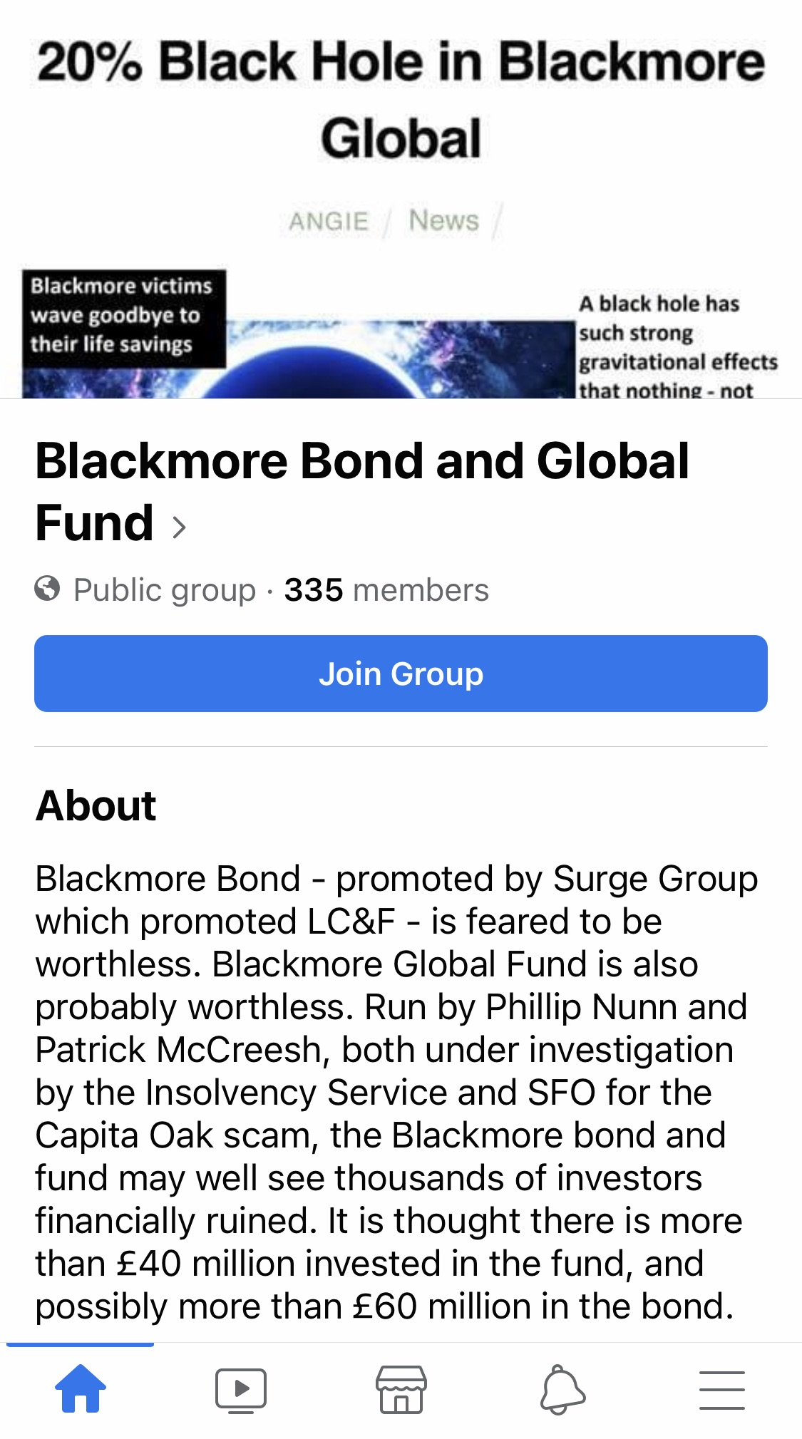 Angie Brooks' Blackmore Bond and Global Fund Facebook Group