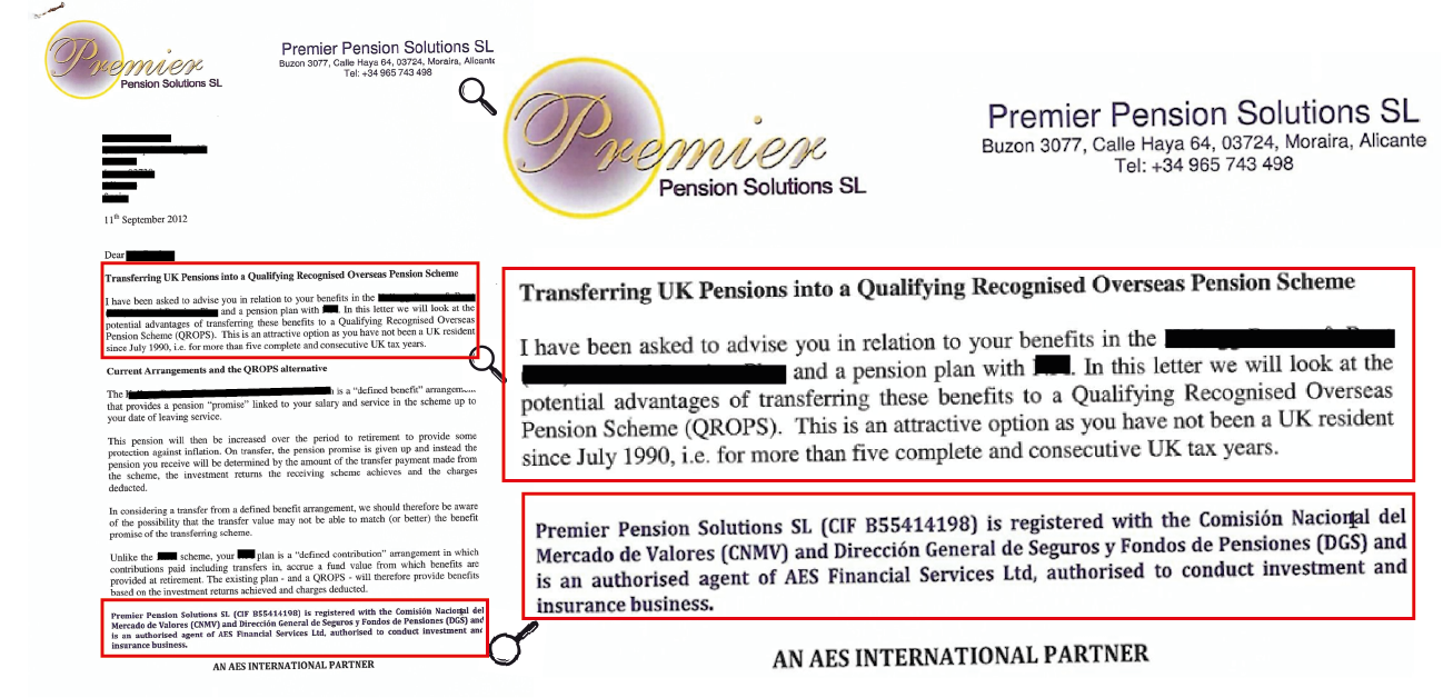 Premier Pension Solutions letter to victim about transferring pension to QROPS